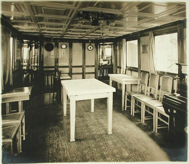 "Dining room of the steamer ""Golovachev"". 1916"