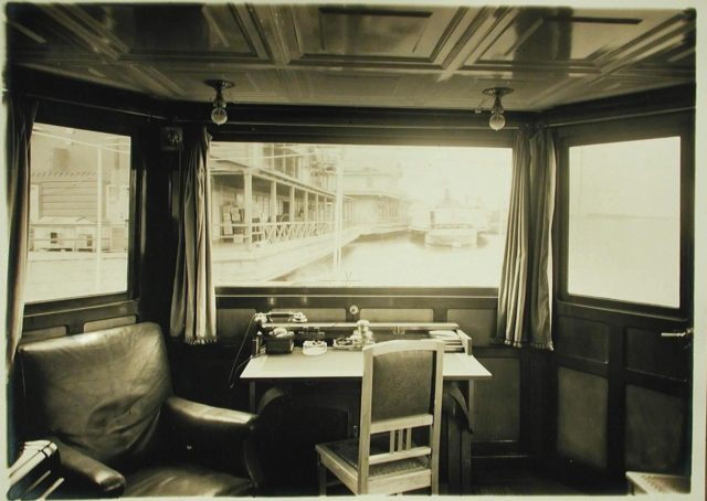 """Dining room and telephone / telegraph table of the steamer """"Golovachev"""". 1916"""