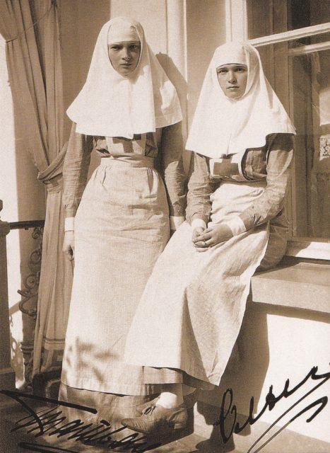 Grand Duchesses Olga Nikolaevna and Tatyana Nikolaevna as nurses
