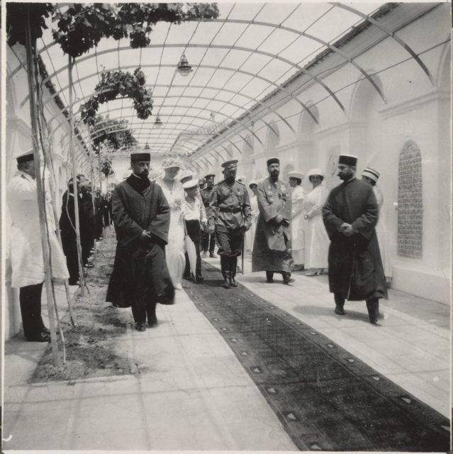 Nicholas II visits the Crimean-Karaite kenass (synagogue) in Evpatoria in 1916