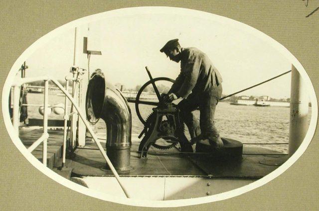 "Сhecking the steering wheel. Steamer ""Golovachev."" 1916."