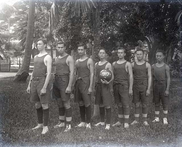 Basketball Team, 1917, Saint Louis College, sec9 no1522 0001, from Brother Bertram Photograph Collection (cropped)