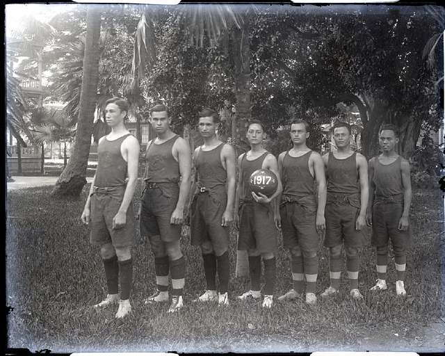Basketball Team, 1917, Saint Louis College, sec9 no1522 0001, from Brother Bertram Photograph Collection