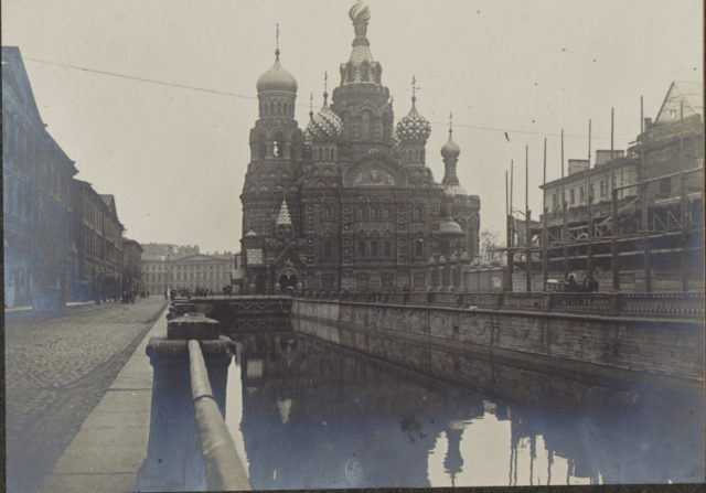 Church of the Savior on Blood. Saint Petersburg in 1917. Albert Thomas travel to Russia.