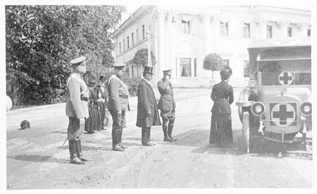 Dowager Empress Maria Fedorovna reviewing Truck handed to Russian Red Cross.
