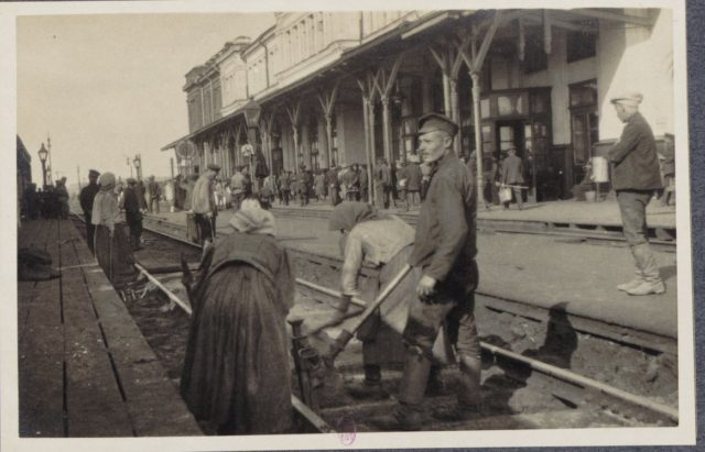 Railroad works. From Petrograd to Vologda by rail in 1917. Albert Thomas travel to Russia.
