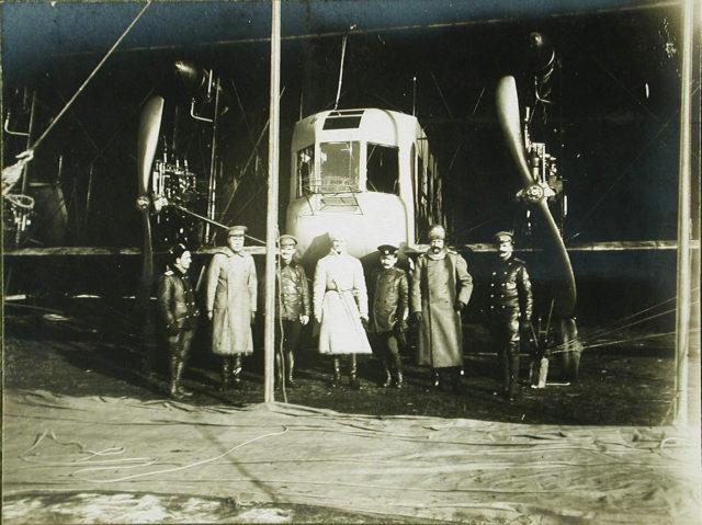 Heavy bomber Ilya Muromets crew during inspection