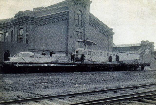 Heavy bomber Ilya Muromets IM series B on rail platform