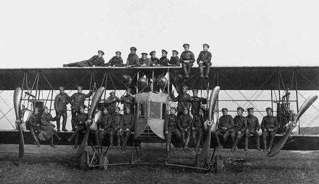Heavy bomber Ilya Muromets stationed in Kiev. Engines -Argus. Aerodrome St.Yablonna. Jan 1915