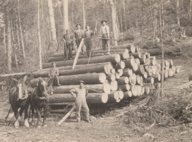 Moving logs, 1917