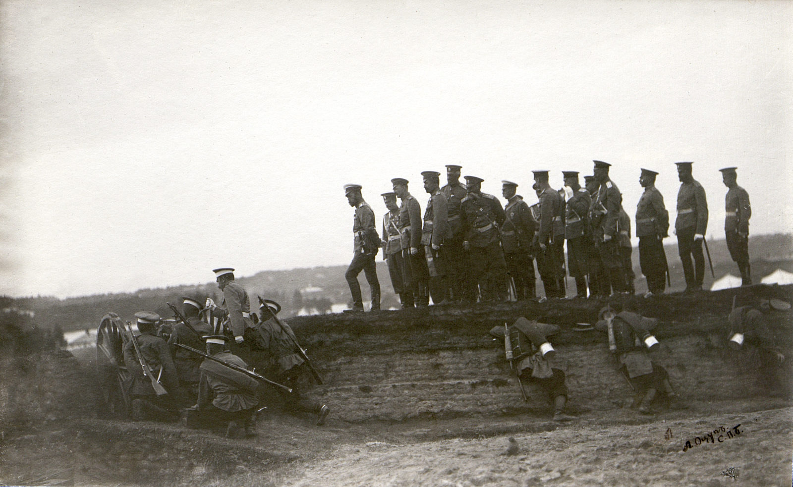 The inspection of troops by Nicholas II