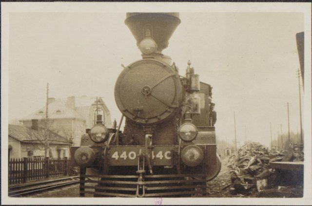Locomotive departing Torneo, Finland. French socialist Albert Thomas travel to Russia, 1917
