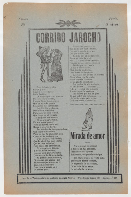 Broadside with two love ballads (corridos), figures dancing upper left and a woman wearing a shawl and skirt lower right