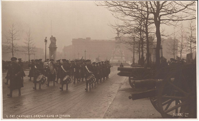 "Postcard ""Captured German Guns in London"" by Judges, sent Christmas 1918"