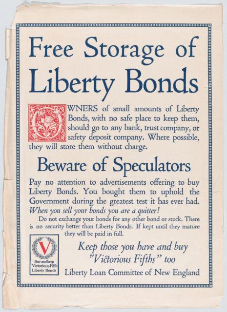 Free storage of liberty bonds