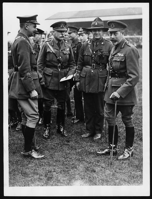 Earl Haig with the King at rugby match at Twickenham in 1919
