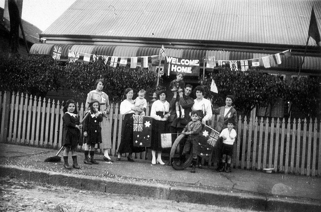 Welcome Home for returning World War I soldier, Fred Tippett, 1919 ; the two lads in the front, Norm and Jack Maloney, went on to fight in World War II and were Prisoners of War in Changi. They survived - Lewisham, Sydney, NSW