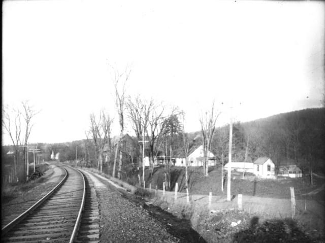 Train tracks and houses, Keene