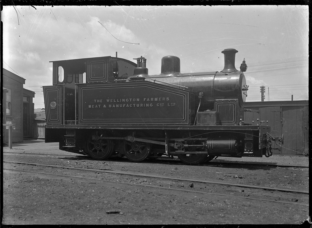 Steam locomotive erected at Petone Railway Workshops for the Wellington Farmers' Meat and Manufacturing Company Ltd. ATLIB 293141