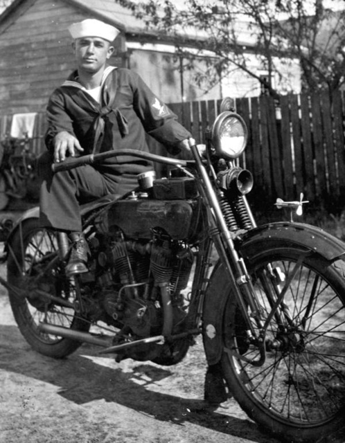 Luther W. Coleman and his Harley Davidson motorcycle: St. Petersburg, Florida