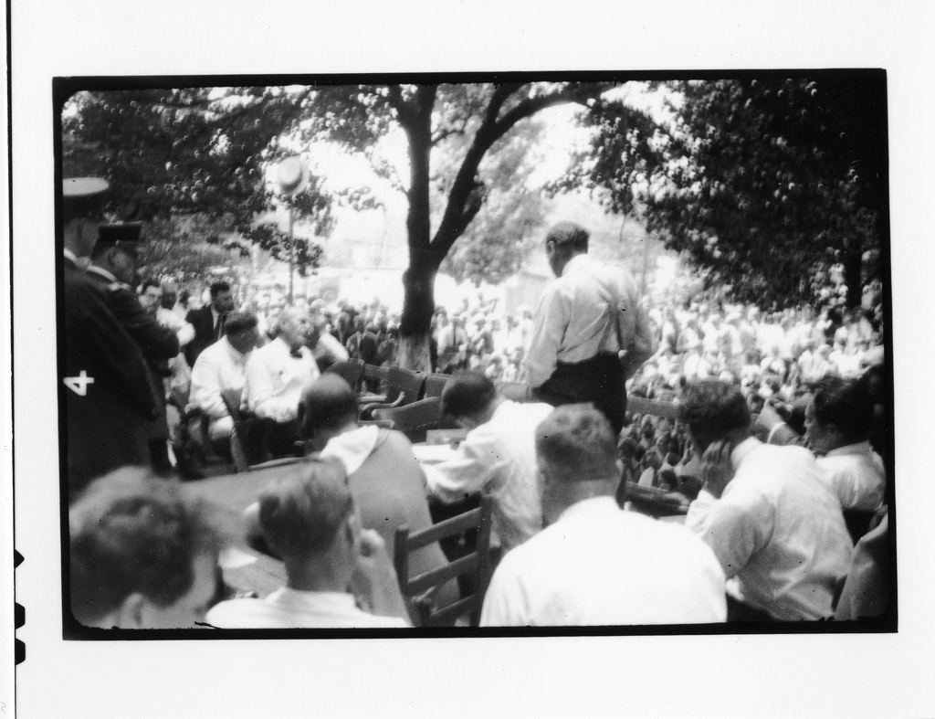 Tennessee v. John T. Scopes Trial: Outdoor proceedings on July 20, 1925, showing William Jennings Bryan and Clarence Darrow. [3 of 4 photos]