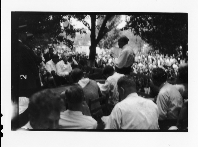 Tennessee v. John T. Scopes Trial: Outdoor proceedings on July 20, 1925, showing William Jennings Bryan and Clarence Darrow. [1 of 4 photos]