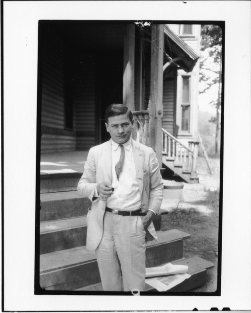 Tennessee v. John T. Scopes Trial: Publisher E. Haldeman-Julius, standing in front of the Defense Mansion.
