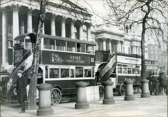 Buses in front of the National Gallery in London 1927
