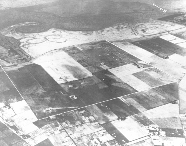 Navy NAS Sunnyvale, Mt View, California prior to construction 1930 Mt View, California farm lands. Property outline in white. ARC-1930-A93-0073-1