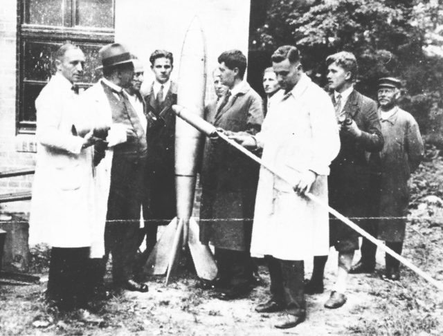 Wernher von Braun. Herman Oberth's Kegelduese liquid rocket engine being certified.