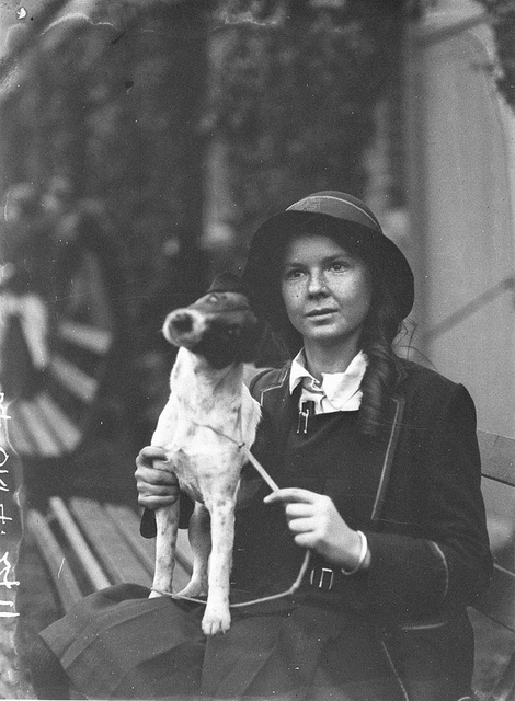 A schoolgirl exhibitor with her dog, c. 1930, by Sam Hood