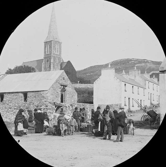 A view through the peephole of Market day in Clifden