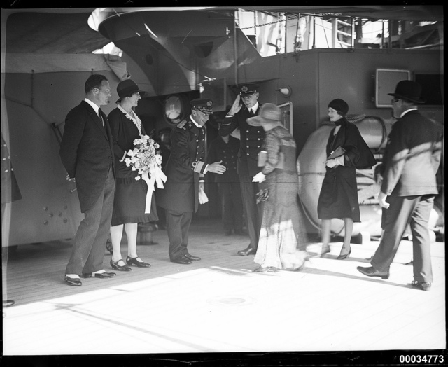 Dutch Consul-General Teppema, Madame Teppema and Rear-Admiral C C Kayser greeting Lady Riddle and Enid Riddle on board HNLMS JAVA, 10 October 1930