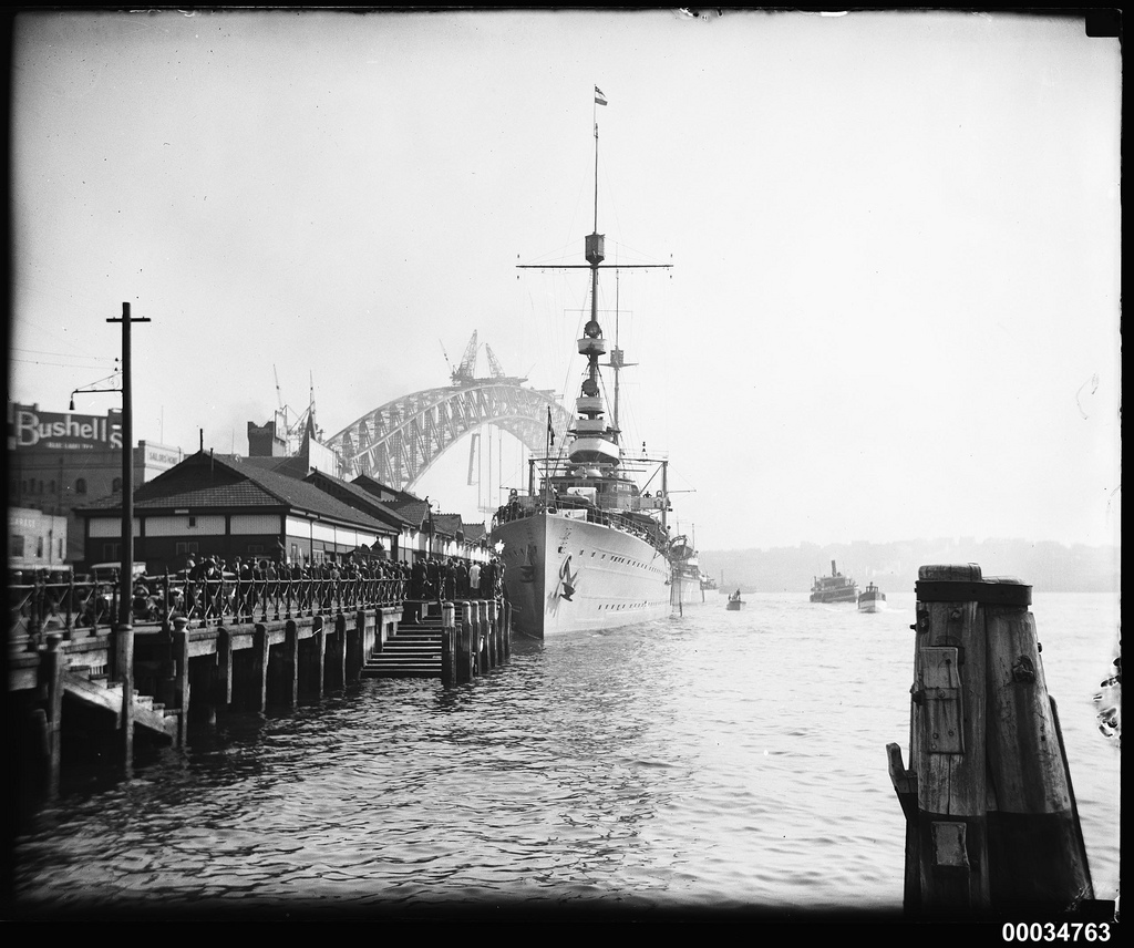 HNLMS JAVA berthed at West Circular Quay wharf, October 1930