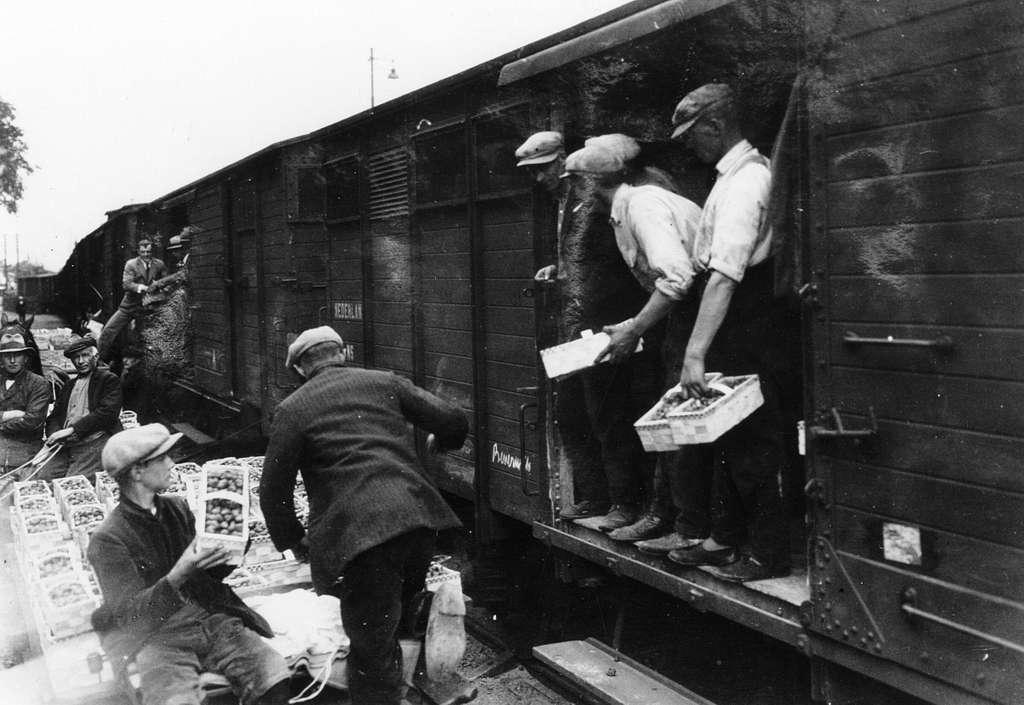 HUA-167063-Afbeelding van het vervoer van aardbeien met gesloten goederenwagens van de N.S. te Beverwijk