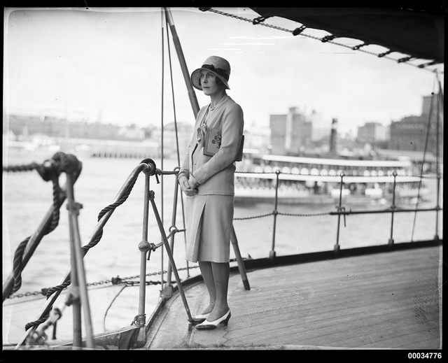 Mrs John Roxborough posing on the deck of HNLMS JAVA, 10 October 1930