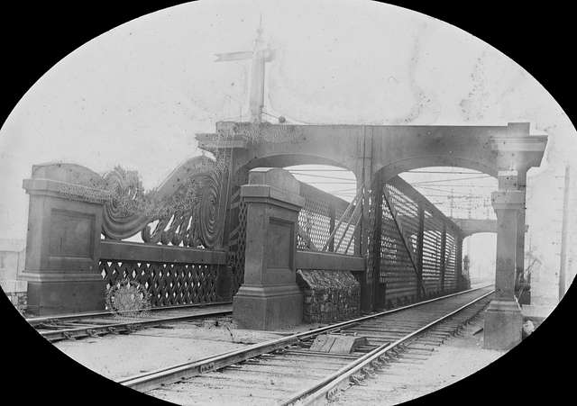 """""""Railway bridge, in an unidentified location"""" is likely on the Dublin/Drogheda line north of Amiens street, Dublin"""