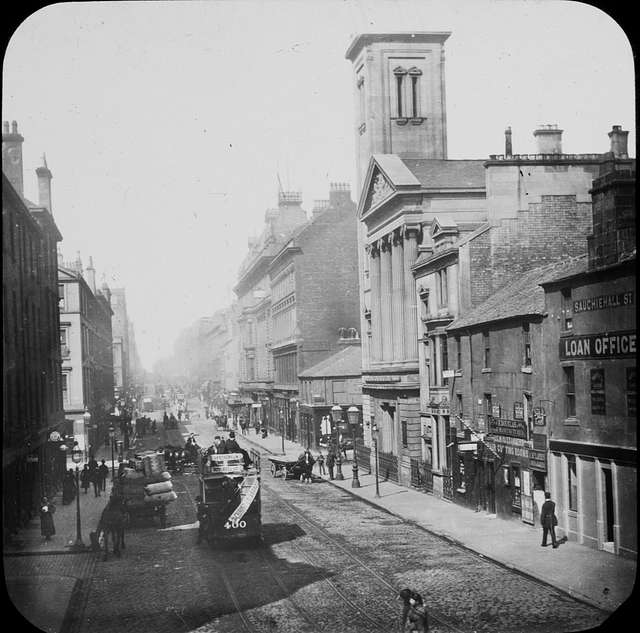 """""""Streetscape: photograph: trams, people, loc?"""" is Glasgow"""