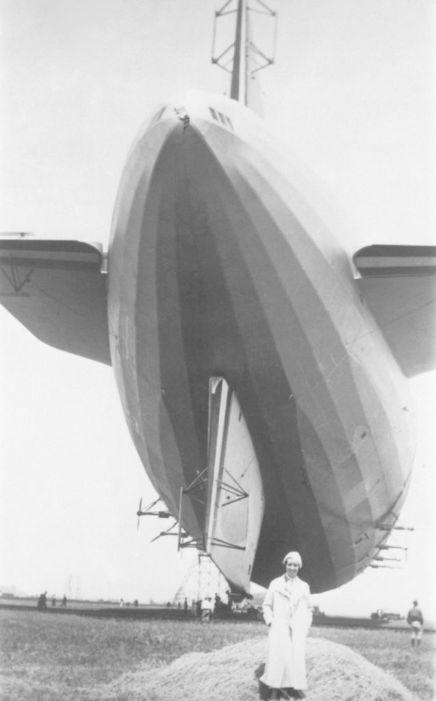 View of USS AKRON,  Ruth Soule' Johnson (Mrs. Vicotor A Hermann) in lower center (from private collection gifted to NASA Ames) ARC-1932-A88-0284-1