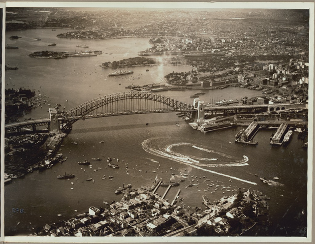 Aerial view of the speed boat display after the official opening celebrations of the Sydney Harbour Bridge, 19 March, 1932