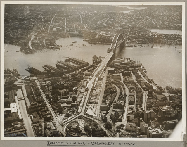 Bradfield Highway and Sydney Harbour Bridge on its opening day, 19 March 1932