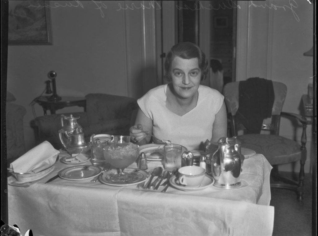 Grand Duchess Maria Pavlovna at breakfast. Los Angeles.