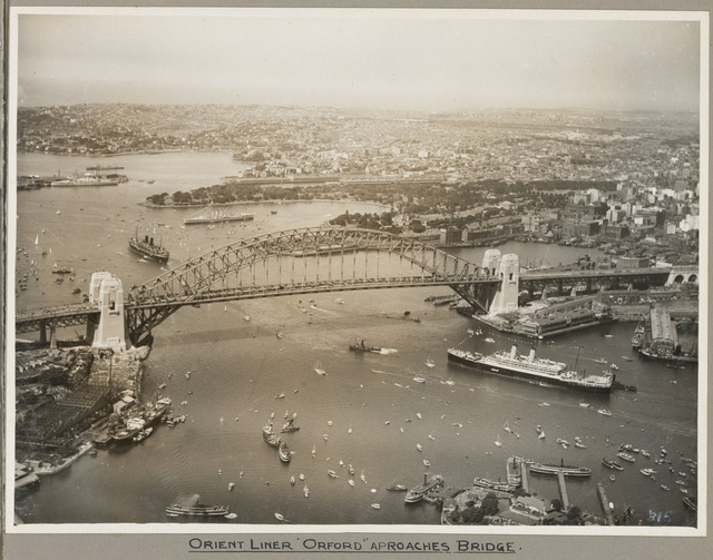 Orient liner SS Orford passing under Sydney Harbour Bridge, 19 March 1932