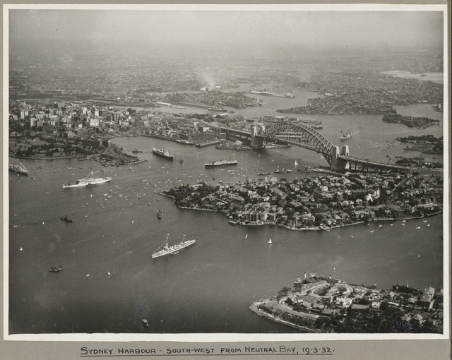 Ships surrounding Sydney Harbour and Sydney Harbour Bridge taken from Neutral Bay, 19 March 1932