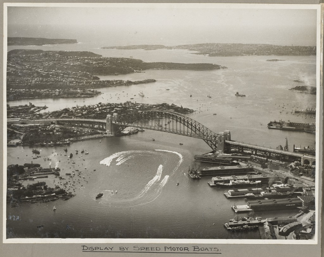 Sydney Harbour Bridge and display of speed boats, 19 March 1932