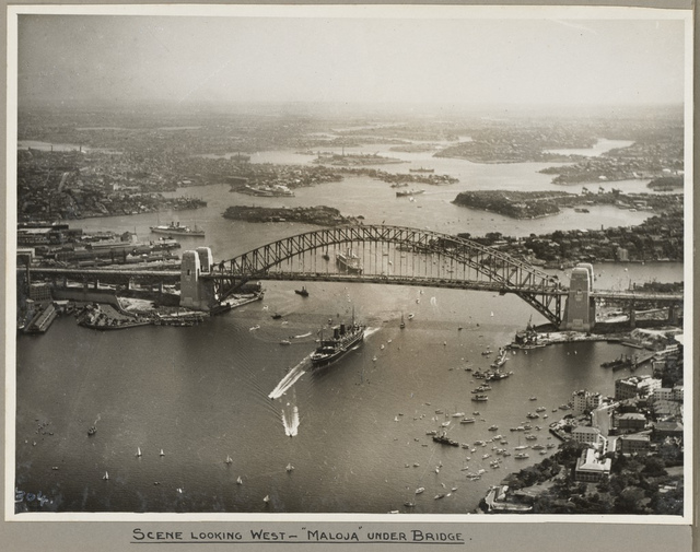 The mail ship Maloja passing under Sydney Harbour Bridge, 19 March 1932