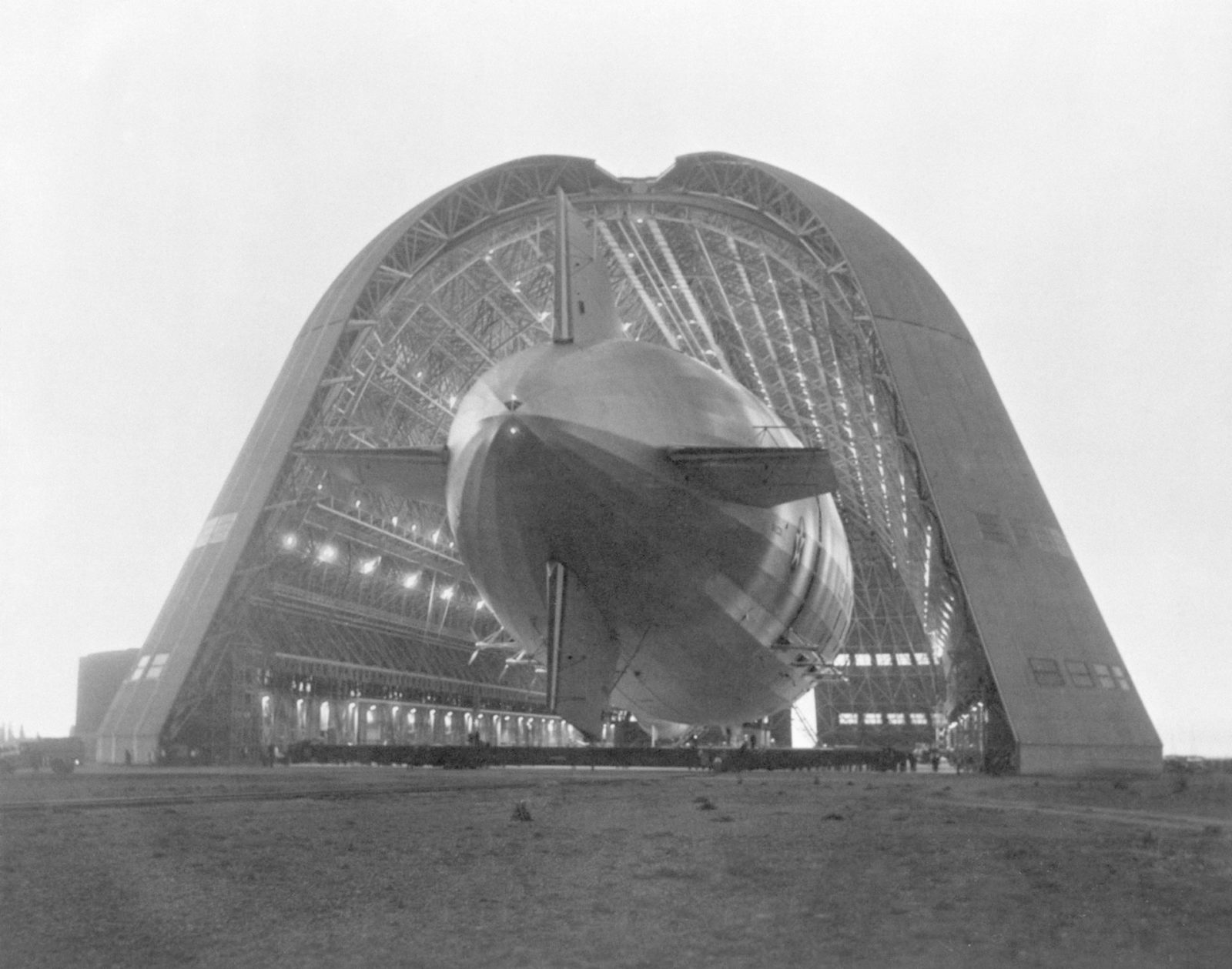 Navy Ridged Airship USS Macon being moved into Hanger 1 NAS Sunnyvale, CA ARC-1933-A91-0261-15