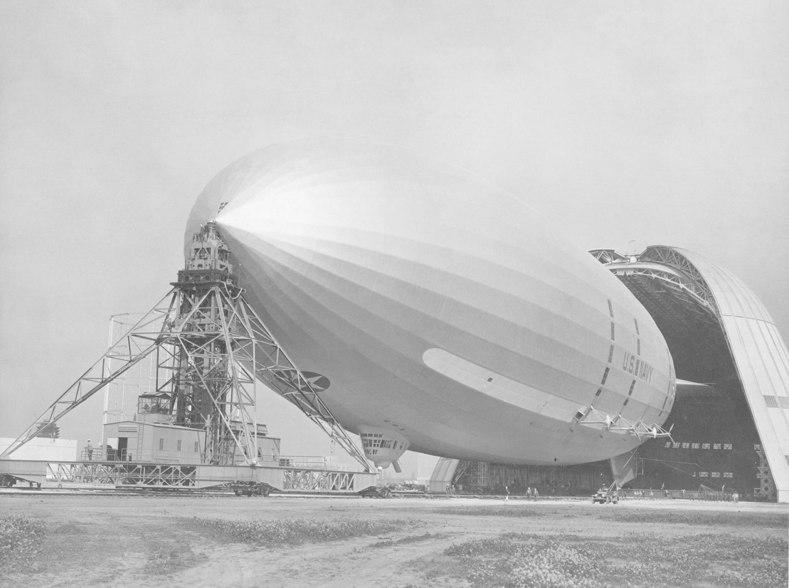 Navy USS Macon leaving Hanger 1 prior to flight from NAS Sunnyvale, CA ARC-1969-A91-0261-18