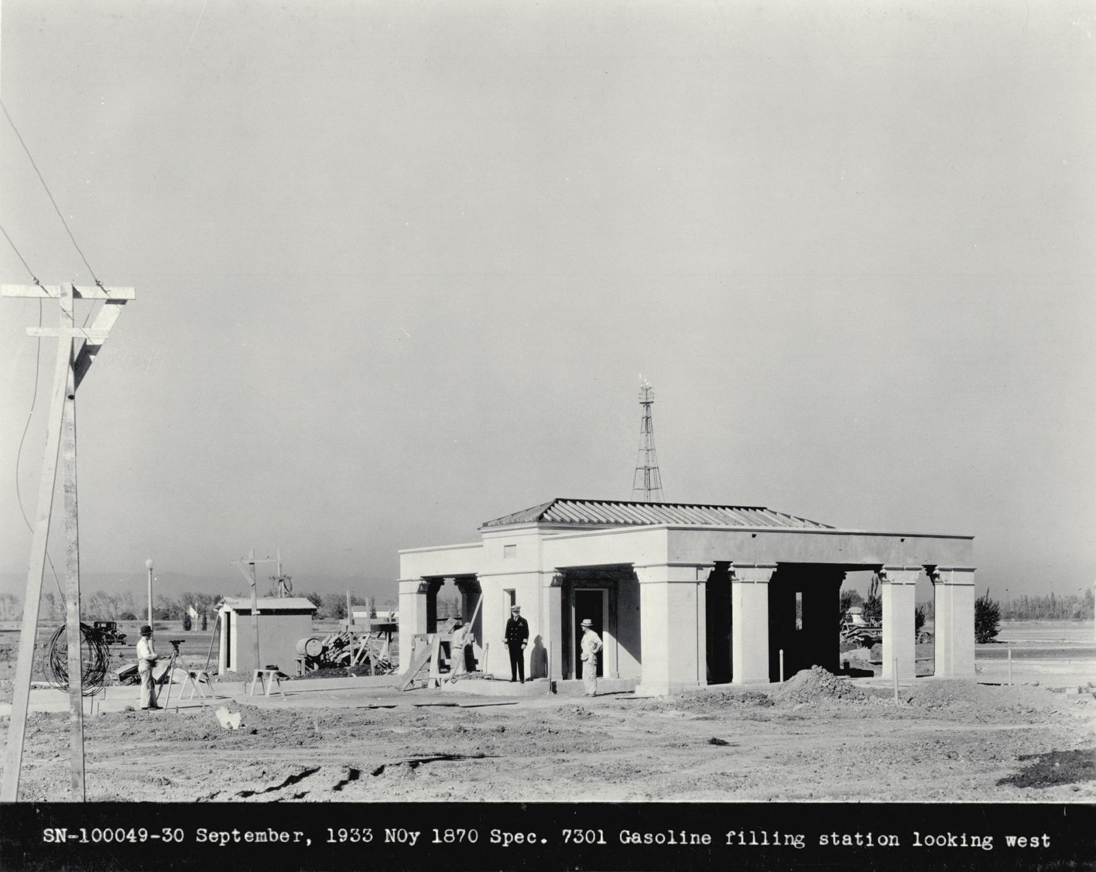NAS Sunnyvale, Mt View Ca Gasoline Filling Station looking west ARC-1933-A93-0073-6