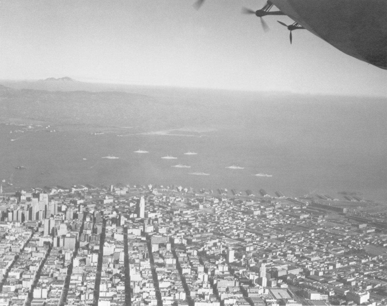 Navy Aerial of San Francisco, California; W/8 Pacific Fleet Battleships anchored in bay ARC-1933-A93-0075-4